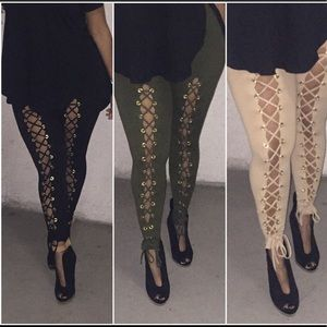 Pants - New Taupe lace up leggings L/XL